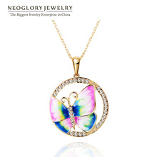 Neoglory Rhinestone Gold Plated Enamel Animal Butterfly Necklaces Pendants For Women New 2014 Fashion Jewelry Accessories