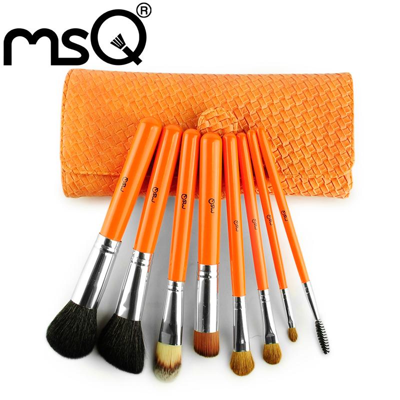 Msq New Fashion Warm Orange 8pcs Professional Makeup Brushes High Quality Make Up Brush Tool Set
