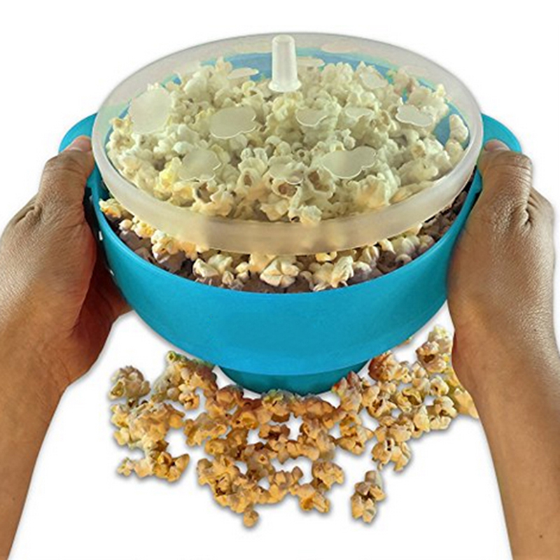 High Quality DIY Microwave Silicone Popcorn Bowl Popcorn Maker Bucket Popcorn Bowl Popper Maker Container Healthy Snack Home(China (Mainland))