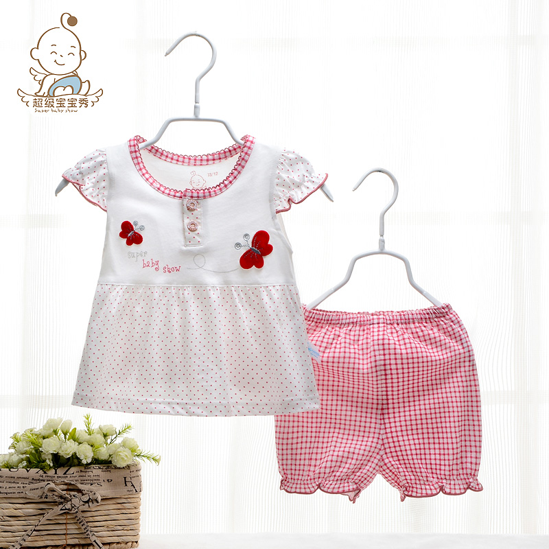 2015 summer new female children 0-1 years old female baby baby summer clothes children suit two piece sleeve(China (Mainland))