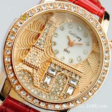 Women rhinestone watches Gogoey Brand Luxury Crystal The Eiffel Tower Watch Women Ladies Fashion Dress Quartz Wristwatches