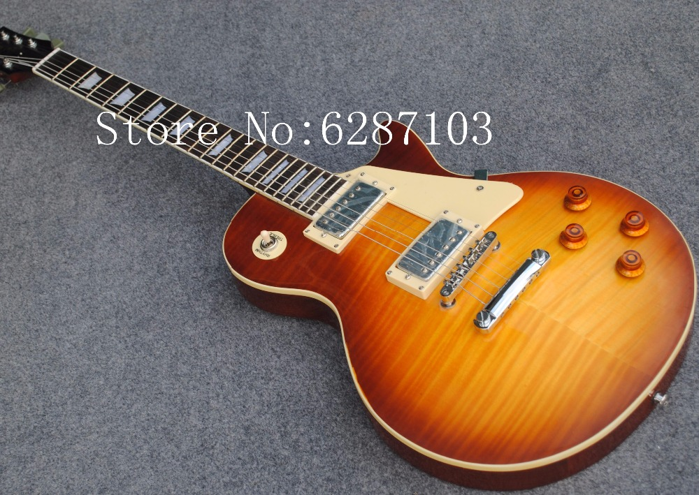 Custom shop 1959 R9 les Tiger Flame paul electric guitar Standard LP 59 electric guitar without hard case,Free shipping(China (Mainland))