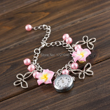Summer New Fashion Quality Brand Multicolor Cute Clay Flower Bracelet Watches Fashion Girls Quartz Watch Fimo WristwatchesSB029P