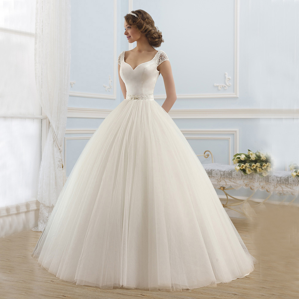 Elegant satin and tulle princess ball gown wedding dresses for Elegant ball gown wedding dresses