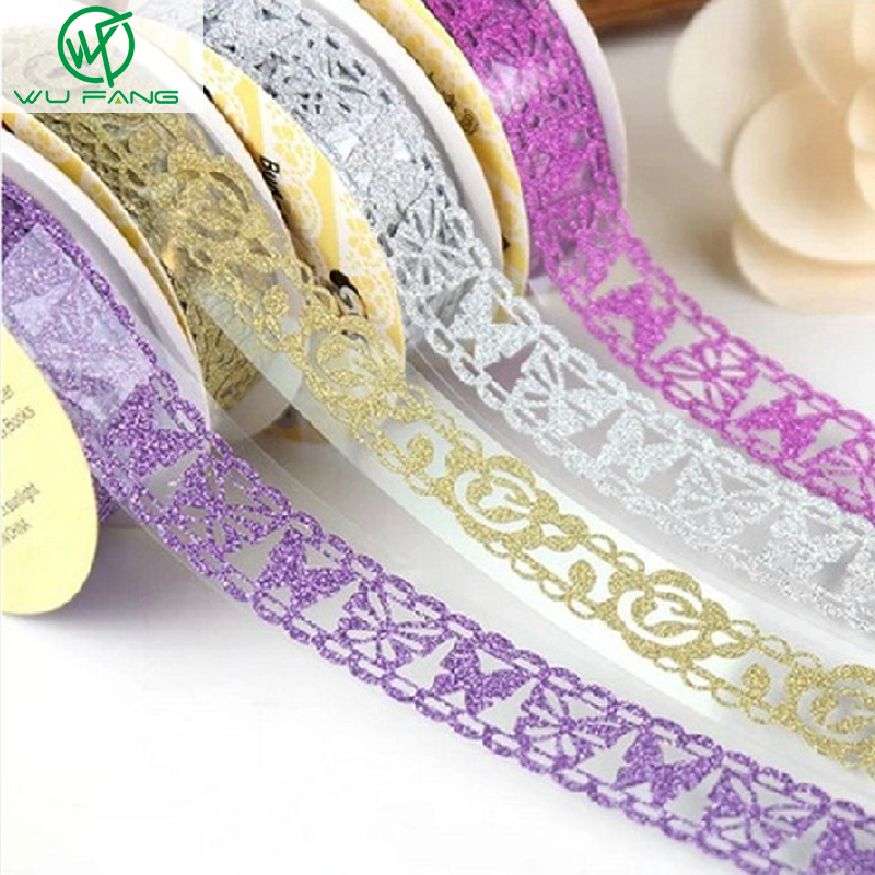 1.8cM DIY Self-adhesive Shredded Lace flash powder Hollow Paper Tape Sticker Crafts Wedding Birthday Festival Decoration Home(China (Mainland))