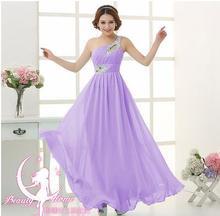 Elegant Brief Dress One Shoulder Cheap Coral Bridesmaids Dresses Long Chiffon Dress 2017 New Simple Dress For Bridesmaids(China)