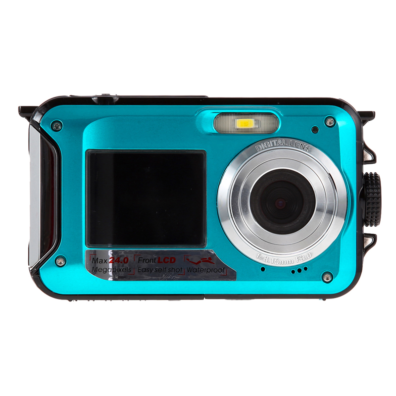 Duble Screen HD 24MP Waterproof Digital Video Camera Support Print directly/ Microphone 1080P DV 16x Digital Zoom(China (Mainland))
