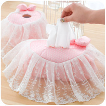 Pink Polka Dots Lace Fringe Love / Heart /Rectangle Towel Pumping Tissue Cover Napkin