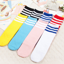 Kids Knee High Socks Girls Boys Football Strips Cotton Old School White Sport Socks Soccer Boots Children Baby Long Leg Warmer