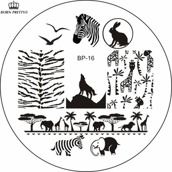 BORN PRETTY Zebra Wolf Animal Patterns Nail Art Stamp Template Image Plate BP16