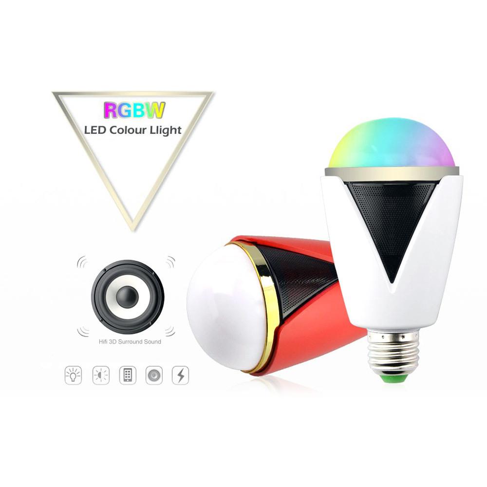 Bluetooth smart speaker rgb light bulb intelligent music for Best bluetooth light bulb speaker