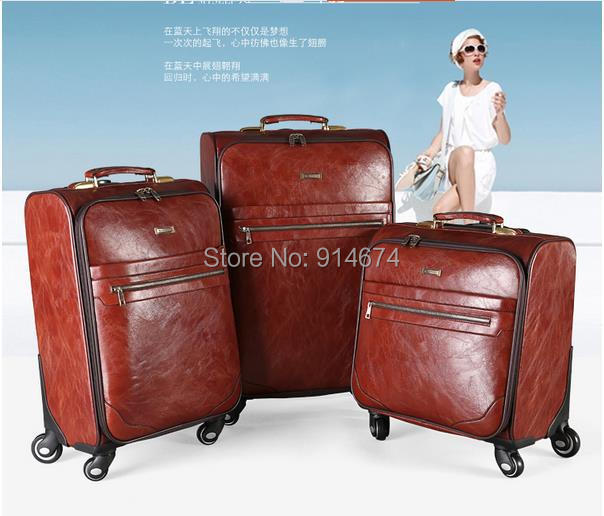 Free shipping High quality trolley luggage 20 inches vintage luggage bag travel bag leather suitcase spinner luggage(China (Mainland))
