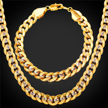 Men Jewelry 9MM Bracelet Statement Necklace Set 18K Stamp Platinum Real Gold Plated Big Chunky Chain Jewelry Set 2016 New NH1949(China (Mainland))