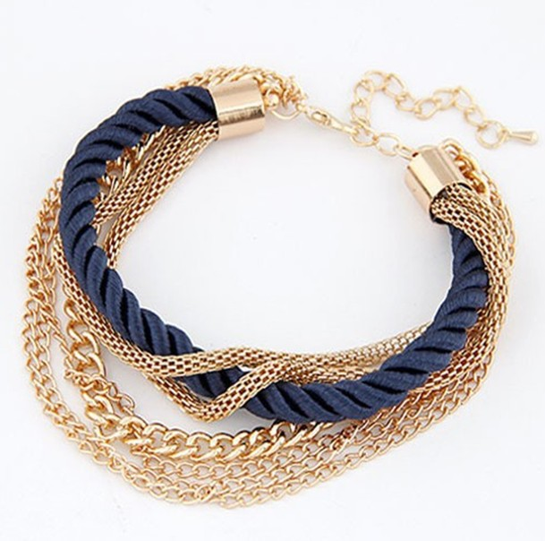 Multi Layer Loom Bands Gold Plated Charm Chain Bracelets For Woman Fashion Jewelry Luxury Summer Style Pulseras Bijoux 2015 New(China (Mainland))