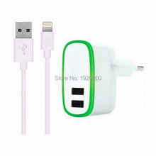 Free shipping 10W 5V 2.1A EU Plug USB Wall Adapter+8 Pin USB Sync Data charger Cable For belkin iphone 6 6s plus 5 5s iPad mini(China (Mainland))