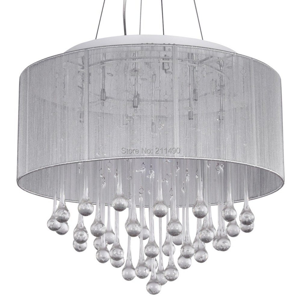 Buy White Fabric Shade Crystal Modern
