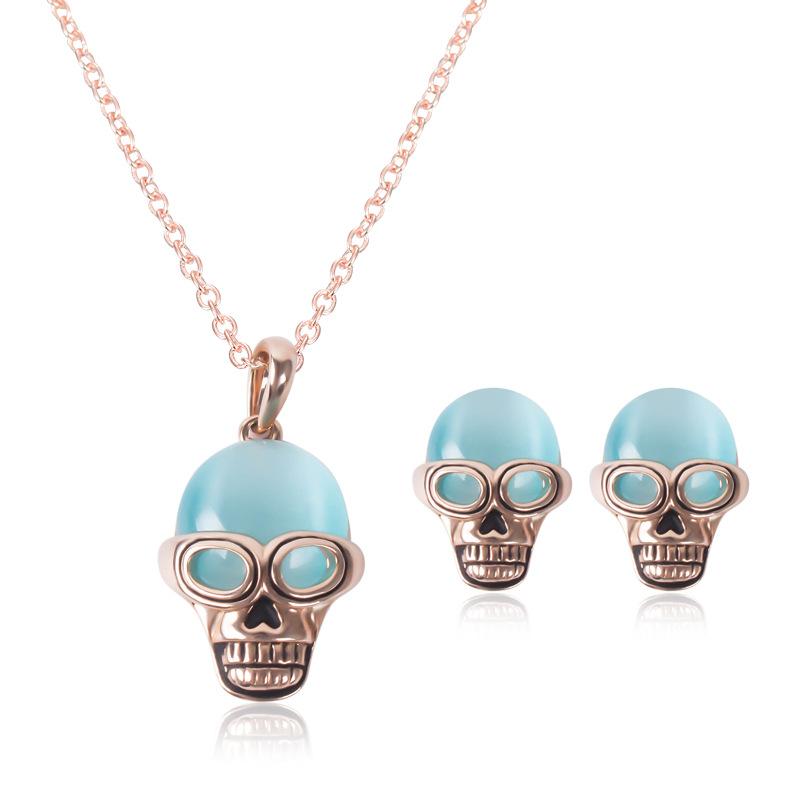 Jewelry Sets Personality skulls blue semi precious stones ...