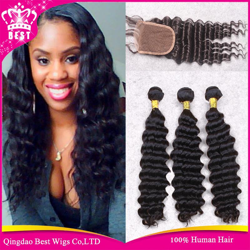 Cheap Brazilian Deep Wave Virgin Hair With Closure,3Bundle Brazilian Deep Wave With Closure,Human Hair Weave Bundle With Closure<br><br>Aliexpress