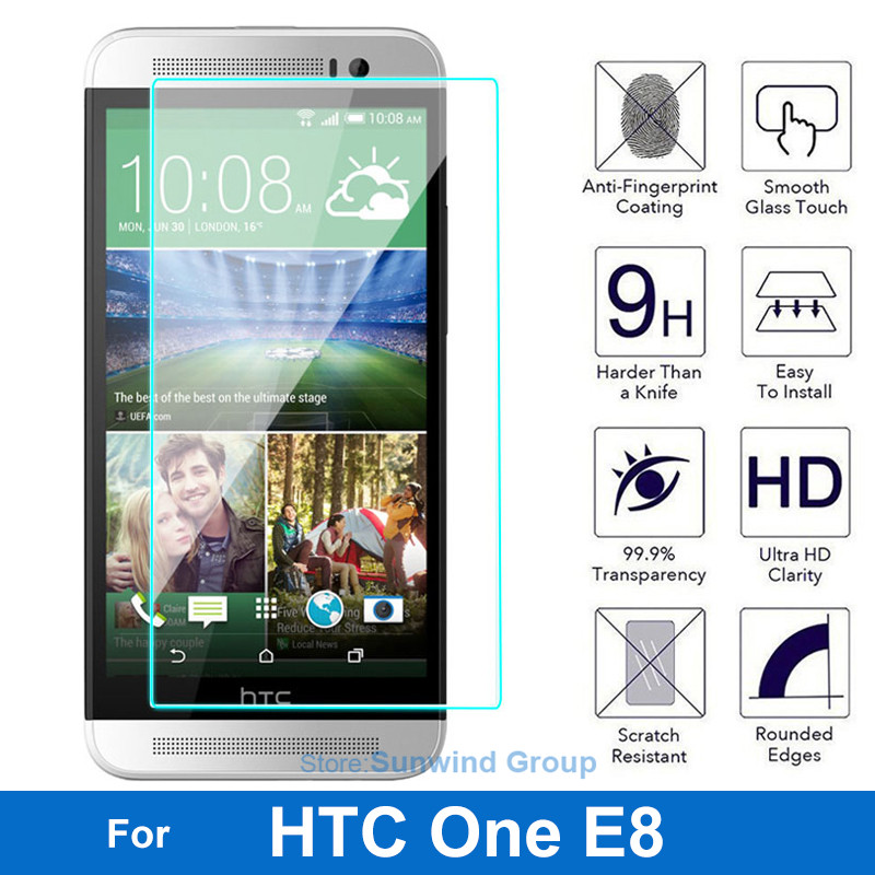 0.26mm Front LCD Quality Explosion-proof LCD Tempered Glass Film For HTC One E8 E 8 Dual Sim Screen Protector pelicula de vidro(China (Mainland))