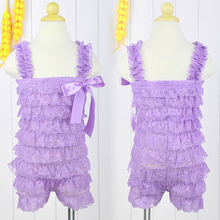 2015 Baby Girl Lace Romper with Straps and Ribbon Bow Jumpsuit Infant 8 Colors  KS0156(China (Mainland))