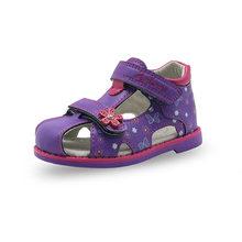 Apakowa קיץ ילדי סנדלי בנות עור מפוצל פרחוני נסיכת נעליים אורתופדיות סגור הבוהן פעוט ילדי בנות סנדלי(China)