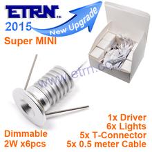 ETRN Brand 2015 NEW Super MINI 2W x6pcs 12W Dimmable LED Downlights Cabinet Light Spot light MINI01A-2W6D Free Shipping(China (Mainland))