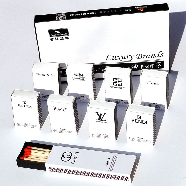 10 Pcs/Box New Art Match All World Famous Brand Logo Print Portable Extra-large Head Windproof Waterproof Matches long matches(China (Mainland))