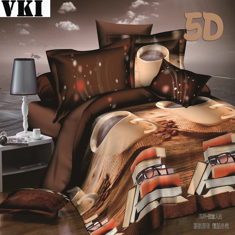 80% off Fashion euro style hot sale bedding sets 4pcs king size bed sheet bedroom linen brown duvet cover(China (Mainland))