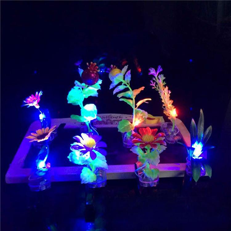 100pcs/lot led party supplies cute cartoon hair clip flashing plants hairpin led hair clip glow grass decoration wedding favors(China (Mainland))
