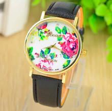 2014 New Fashion Leather GENEVA Rose Flower Watch Women Dress Watch stylish Quartz Watches