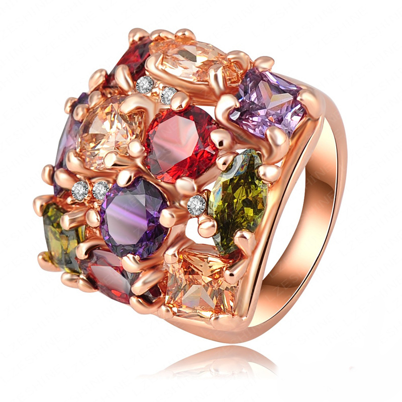 Fashion Women Accessories Brand Rings 18K Rose Gold Plated SWA Element Austrian Crystal Wedding Bulgary Ring RIN249 - dreamfly party balloons store