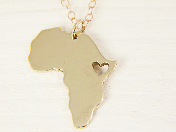 Africa map pendant necklace 18K gold plated fillde jewelry women men, gold chain african gifts wholesale