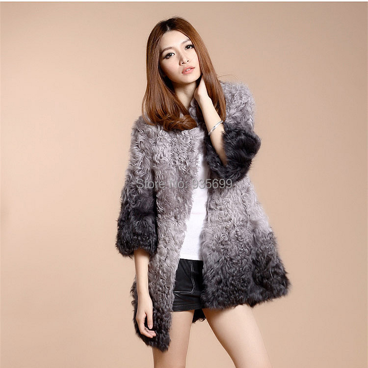 2015 Real Lamb Fur Jacket Ladies' Winter mid long Coat Women Warm Natural Overcoat Gradient Color Outwear - Elegant World JK store
