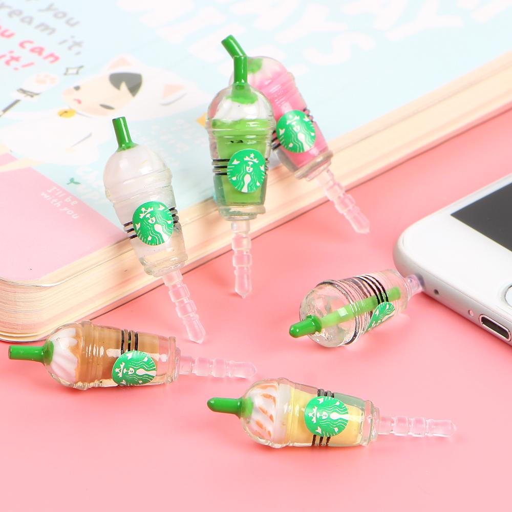 10pcs/lot New fashion Starbuck Anti Dust Plug minipol earphone jack plugs for cell phone Headset Stopper cap 3.5 MM Universal(China (Mainland))
