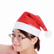 Cute Classic Christmas Hat Santa Claus Hat Child Adult Christmas Decorations Holiday Party Supplies Santa of Sequins Accessories(China (Mainland))