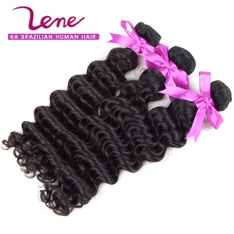 3pcs Lene 100% Unprocessed Charming Brazilian Deep Wave Virgin human Hair weave natural black Brazilian virgin hair deep wave(China (Mainland))