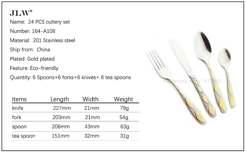 Buy Flatware 24 Pieces Stainless Steel Diamond Shape Gold Plated Cutlery Set Dinner Spoon Fork Knife Luxury Dinnerware Promotion cheap