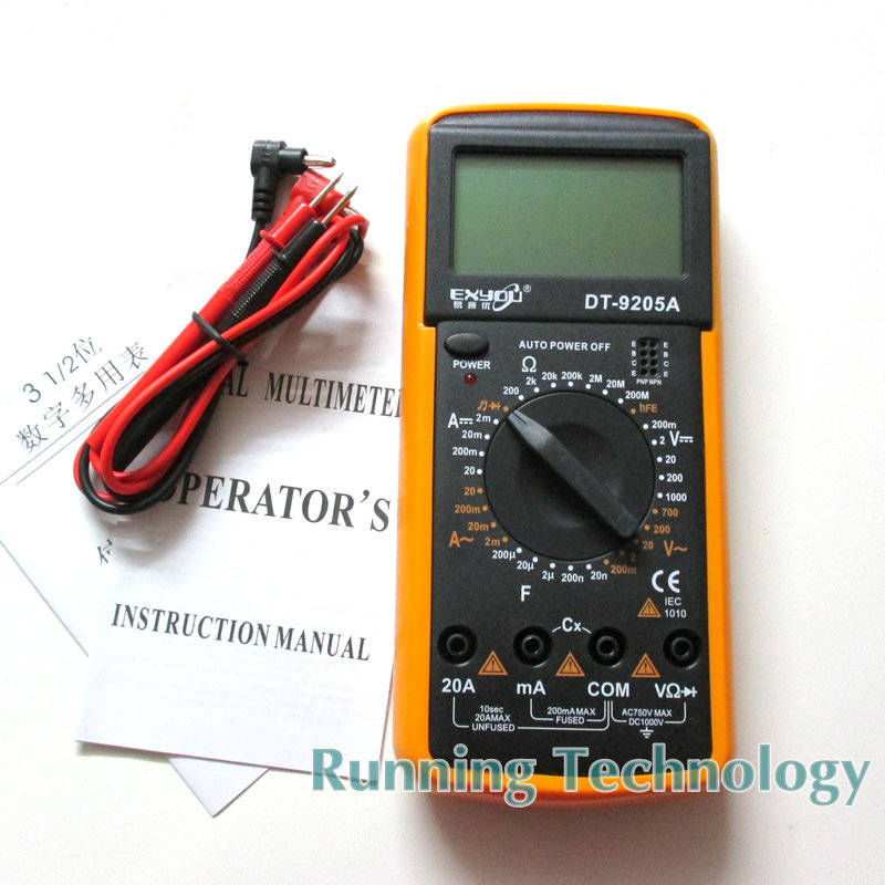 DT9205A AC/DC Professional Electric Handheld Tester Meter Digital Multimeter Free shipping Wholesale(China (Mainland))
