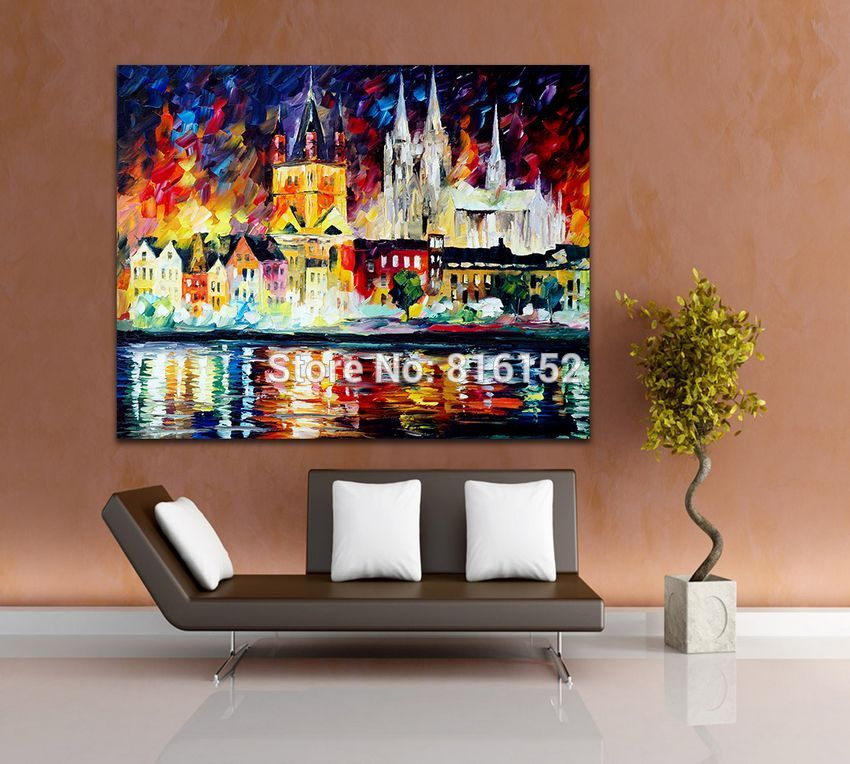 Buy 100% Hand Painted Palette Knife Charming Architectures in The City Canvas Oil Painting Frameless Wall Art for Living Room cheap