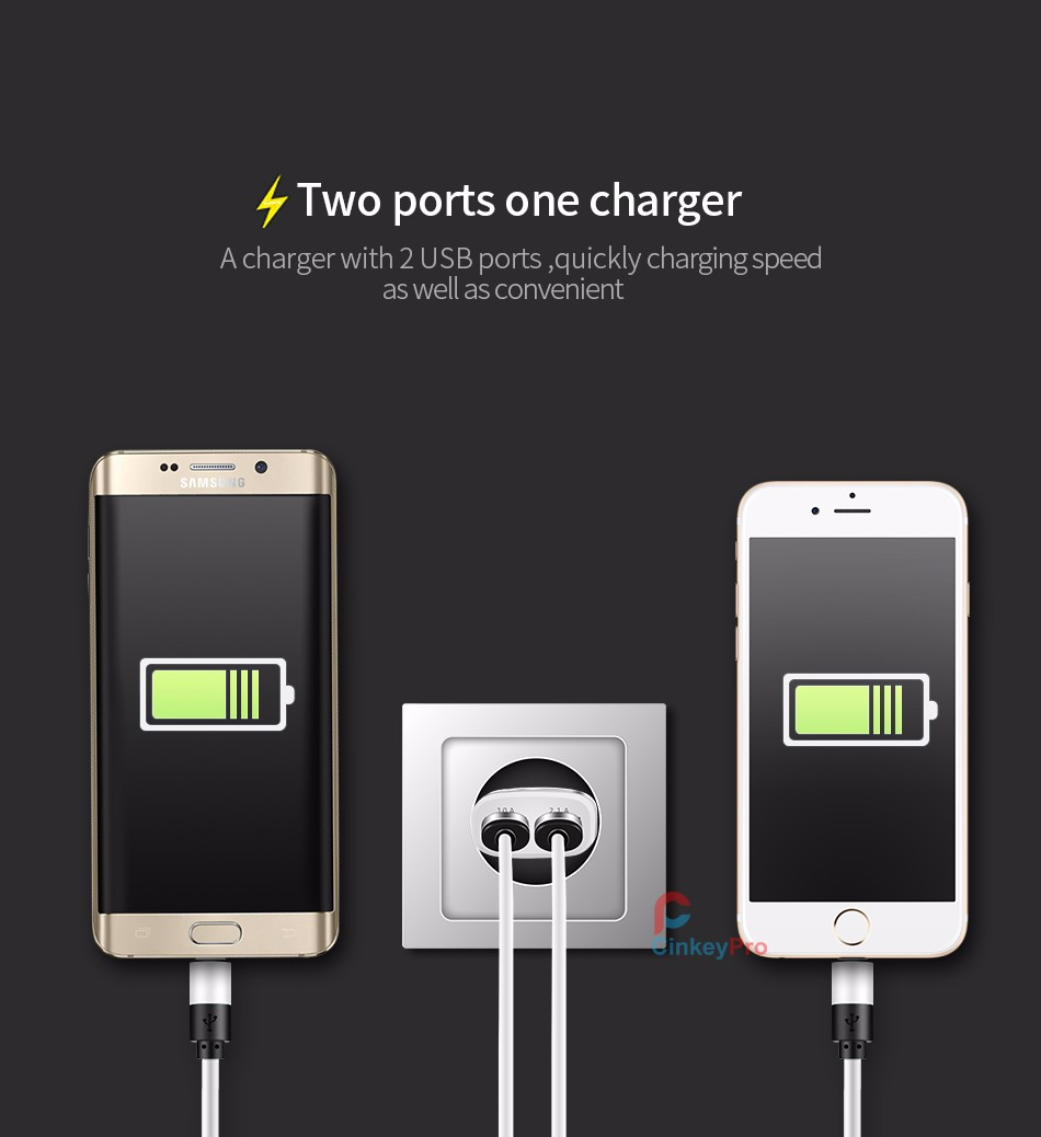 USB Charger For Phone iPhone Samsung Universal Dual Charging Adapter Aluminum 5V 2A Wall EU Plug Travel Mobile Charge CinkeyPro