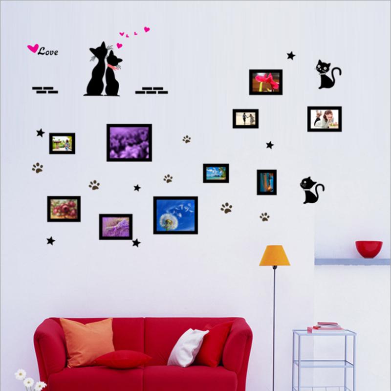 Wall Sticker Wall Decal Home Decor Adhesive Art Mural Diy Black cat photo frame ay7134(China (Mainland))