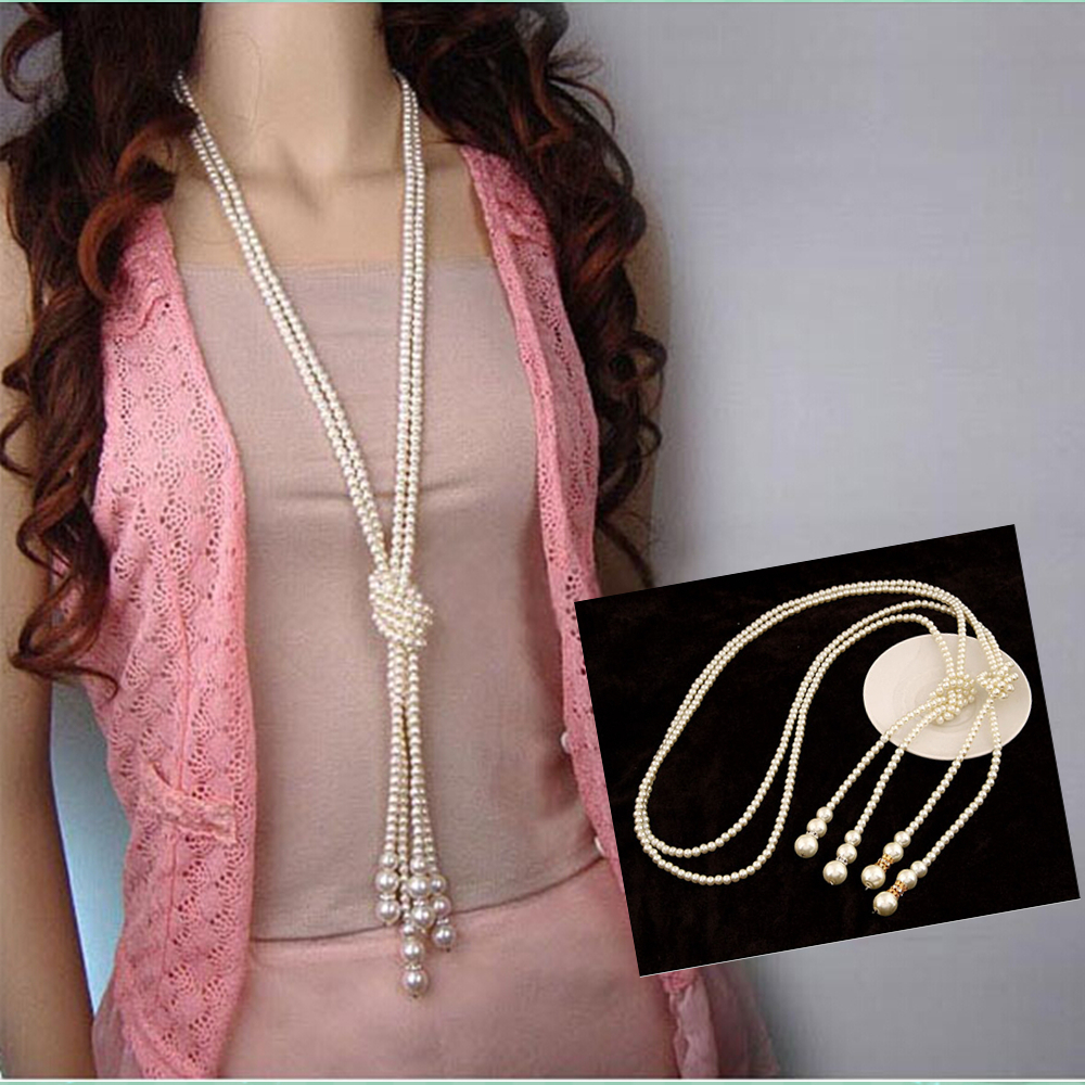 Fashion Pearl Jewelry Necklace for Women Choker Long Statement Necklace 2015 Gold Silver Colares Femininos Bijuterias