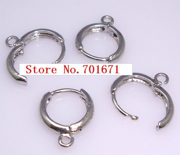 Free Shipping 16MM x 14MM Rhodium Plated Earring Hoops With Earring Hoop Findings,Earring Hooks, Earring Findings.100pcs/lot S44