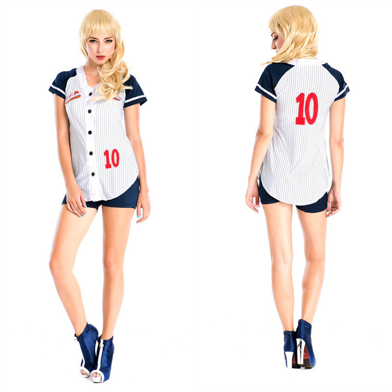 2016 New Adult Womens Sexy Halloween Party Baseball Uniform Costumes Outfit Fancy Ping-pong Player Cosplay Shirt&Shorts(China (Mainland))
