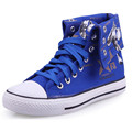 2017 Men Black Canvas Shoe High Top Casuals Shoes Letters Print Canvas Casual Flat Leisures