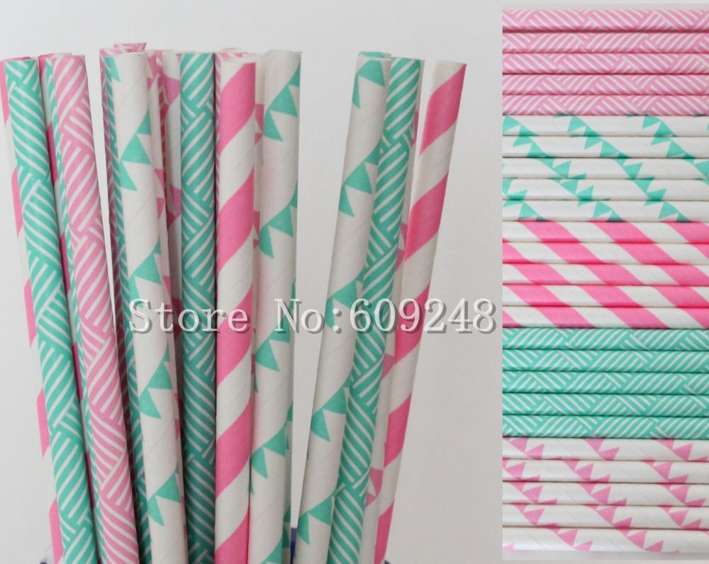 125 unids partido beber paja de papel mix, Brown rayó, Hot Pink y Aqua banderín y armadura de cesta, boda, té(China (Mainland))