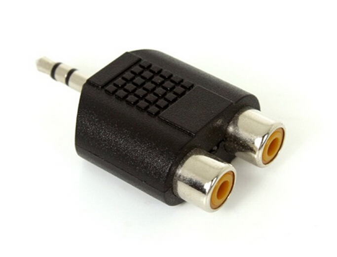 Stereo 3.5mm Male to Two RCA Female Adapter (Black)(China (Mainland))
