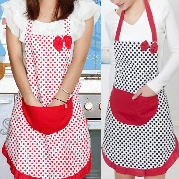 Adjustable Cute Vintage Bow Knot 2Colors Red Black Dot White Background Women Kitchen Restaurant Bib Cooking Aprons 1577(China (Mainland))