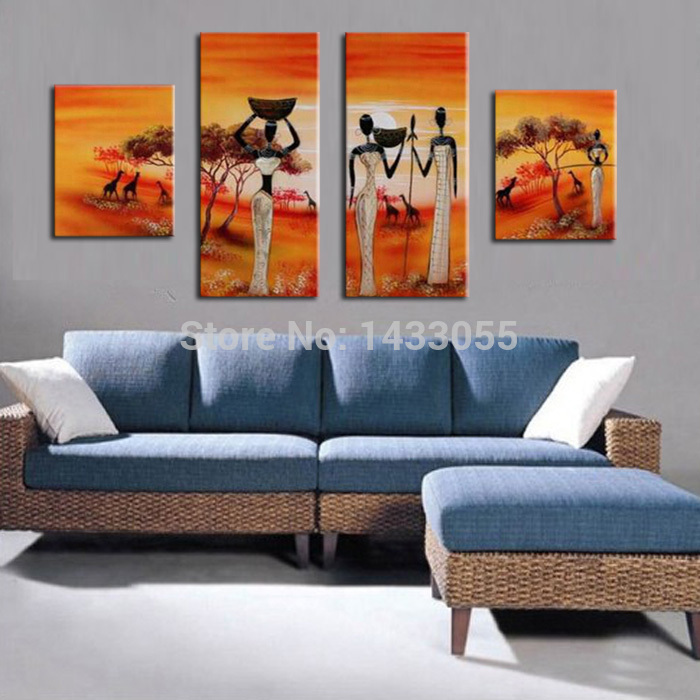Hand Painted Africa Working Women Modern Art Painting Oil Painting On Canvas Home Decoration 4pcs set