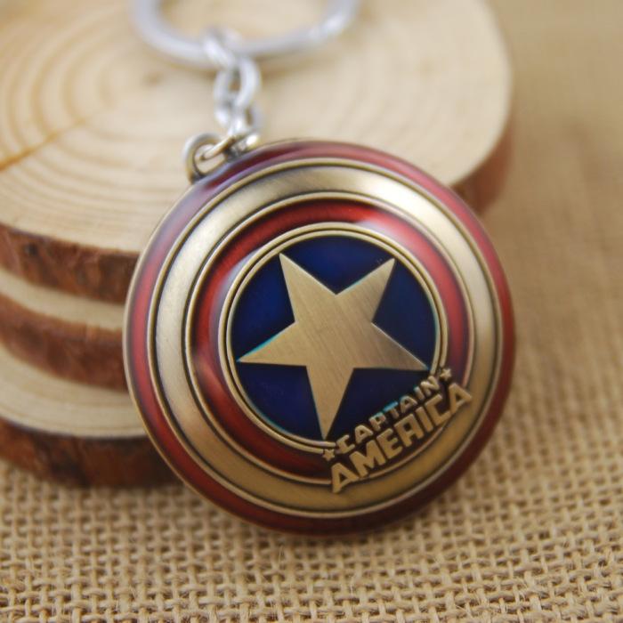 Good Sale Marvel Comics Theme Super Hero The Avengers Captain America Shield Metal Keychain For Boys Gift Key Chains(China (Mainland))